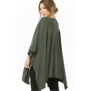 Forever 21 Green Handkerchief Hem Sweater Shawl